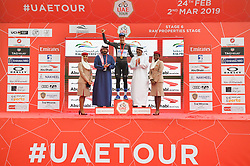 March 1, 2019 - Emirati Arabi Uniti - Foto LaPresse - Massimo Paolone.1 Marzo 2019 Emirati Arabi Uniti.Sport Ciclismo.UAE Tour 2019 - Tappa 6 - da Ajman a Jebel Jais - 180 km.Nella foto: Stepan Kuriyanov (Gazprom - RusVelo) durante la premiazione..Photo LaPresse - Massimo Paolone.March 1, 2019 United Arab Emirates.Sport Cycling.UAE Tour 2019 - Stage 6 - Ajman to Jebel Jais - 111,8 miles.In the pic: Stepan Kuriyanov (Gazprom - RusVelo) during the award ceremony (Credit Image: © Massimo Paolone/Lapresse via ZUMA Press)