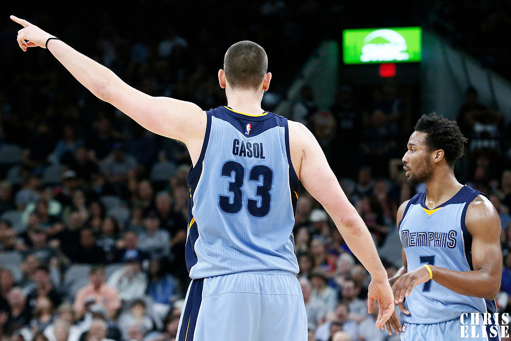 04 April 2017: Memphis Grizzlies center Marc Gasol (33) is seen during the San Antonio Spurs 95-89 OT victory over the Memphis Grizzlies, at the AT&T Center, San Antonio, Texas, USA.