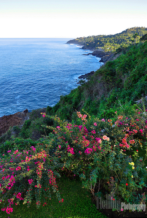 Peaceful scene looking north from cliffs above San Pancho, Mexico