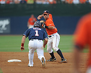 Virginia's Tyler Cannon (10) forces out Mississippi's Zach Miller (1) and throws to first for a double play during an NCAA Regional game at Davenport Field in Charlottesville, Va. on Saturday, June 5, 2010.