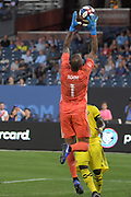 Eloy Room of Columbus Crew SC makes save against New York City FC during a MLS soccer match, Wednesday, Aug. 21, 2019, in New York (Errol Anderson/Image of Sport)