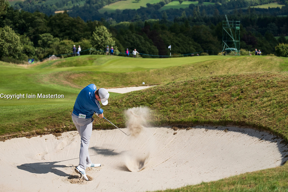 Gleneagles, Scotland, UK; 9 August, 2018.  Day two of European Championships 2018 competition at Gleneagles. Men's and Women's Team Championships Round Robin Group Stage - 2nd Round. Four Ball Match Play format. Connor Syme of team GB plays out of a bunker.