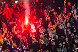 Supporters of Maribor celebrate after Agim Ibraimi of Maribor scoring first goal for Maribor during football match between NK Maribor, SLO  and Chelsea FC, ENG in Group G of Group Stage of UEFA Champions League 2014/15, on November 5, 2014 in Stadium Ljudski vrt, Maribor, Slovenia. Photo by Vid Ponikvar / Sportida