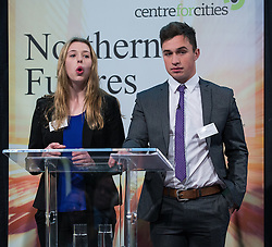 © Licensed to London News Pictures . 06/11/2014 . Leeds , UK . Year 13 students Freya Tweedy and Sam Simkins of Abbey Grange Academy in Leeds , address the Northern Futures Summit in Leeds this morning (Thursday 6th November 2014) .  . Photo credit : Joel Goodman/LNP
