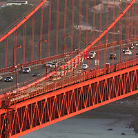 A general overview of the Golden Gate Bridge scaffolding for painters, as seen from the Marin Headlands in San Francisco, California on Saturday, Sept. 17, 2011. The Golden Gate Bridge is undergoing a re-painting of the main support cables for the first time in 75 years and is expected to be completed by 2015.(AP Photo/Alex Menendez) Golden Gate Bridge in San Francisco, California. Golden Gate Bridge in San Francisco, California.