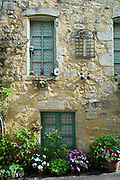Traditional French house in quaint town of Castelmoron d'Albret in Bordeaux region, Gironde, France
