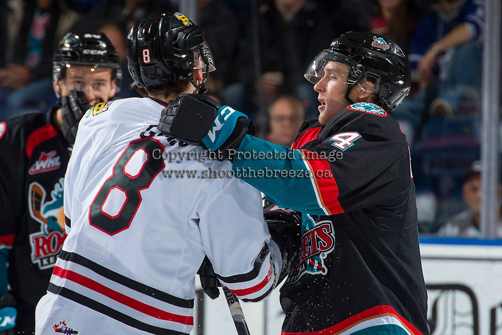KELOWNA, CANADA - OCTOBER 20: Gordie Ballhorn #4 of the Kelowna Rockets gets in the face of Cody Glass #8 of the Portland Winterhawks on October 20, 2017 at Prospera Place in Kelowna, British Columbia, Canada.  (Photo by Marissa Baecker/Shoot the Breeze)  *** Local Caption ***