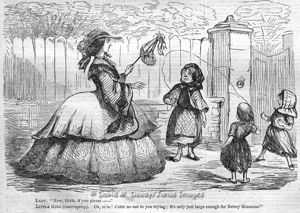 Cartoon: Girls skipping rope can't play with woman due to her large hoop skirt, Harper's Weekly, 1857