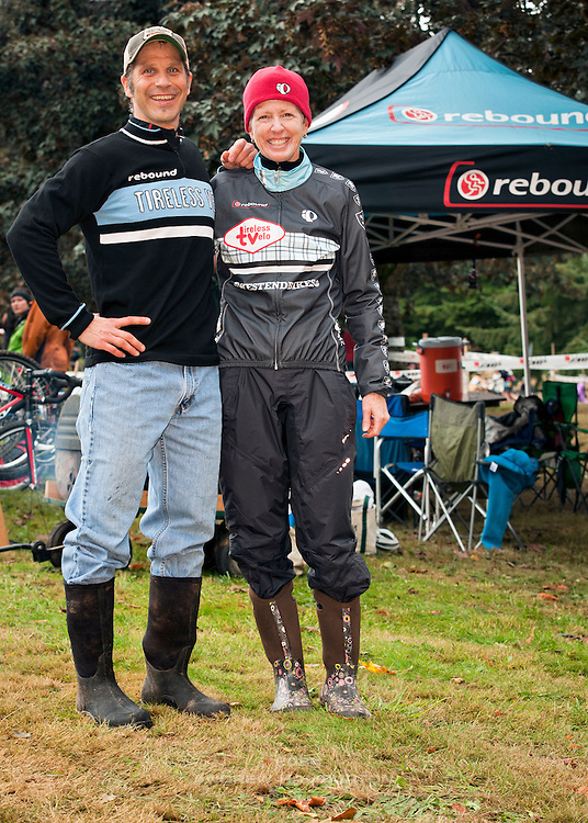 Bill and Karen Goritski of Rebound Tireless Velo team at Race 2 of the Cyclocross Crusade Series at Rainier High School, Oregon, 14 October 2012.
