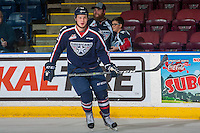 KELOWNA, CANADA - MARCH 4: Jordan Topping #12 of the Tri-City Americans warms up against the Kelowna Rockets on March 4, 2017 at Prospera Place in Kelowna, British Columbia, Canada.  (Photo by Marissa Baecker/Shoot the Breeze)  *** Local Caption ***