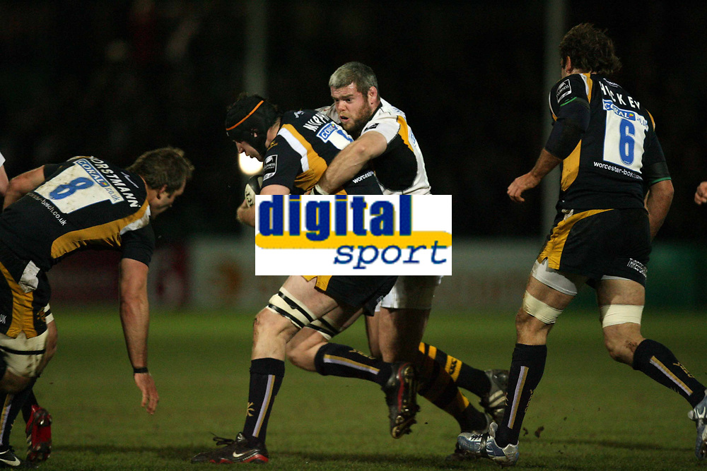 Photo: Rich Eaton.<br /> <br /> Worcester Rugby v London Wasps. Guinness Premiership. 26/01/2007. Peter Bracken right of Wasps tackles Worcesters Phil Murphy