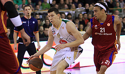 Vlado Ilievski (7) and Ibrahim Jaaber (21) at basketball match of 3rd Round of Euroleague between KK Union Olimpija (SLO) and Lottomatica Roma (ITA), in Arena Tivoli, Ljubljana, Slovenia, on November 6, 2008. Lottomatica  won the match 78:67.