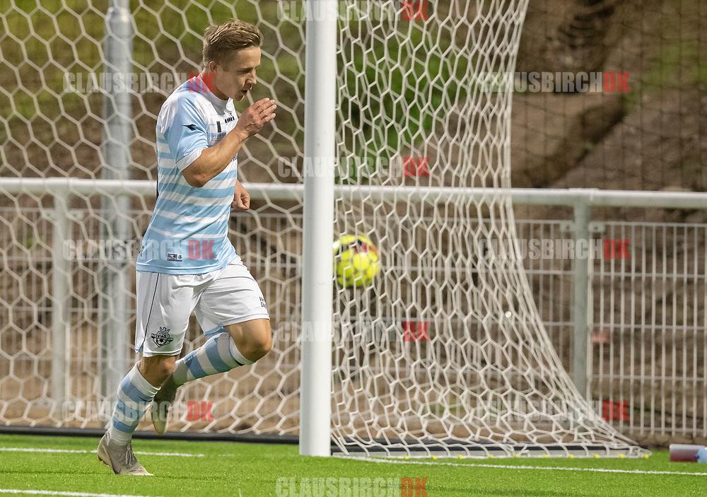 Jeppe Kjær (FC Helsingør) jubler efter scoringen til 2-0 under kampen i 2. Division mellem FC Helsingør og B.93 den 20. september 2019 på Helsingør Ny Stadion (Foto: Claus Birch).