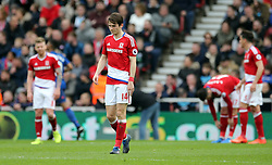 19.03.2017, Riverside Stadium, Middlesbrough, ENG, Premier League, FC Middlesbrough vs Manchester United, 29. Runde, im Bild Marten de Roon of Middlesbrough reacts to conceding a second goal // Marten de Roon of Middlesbrough reacts to conceding a second goal during the English Premier League 29th round match between FC Middlesbrough and Manchester United at the Riverside Stadium in Middlesbrough, Great Britain on 2017/03/19. EXPA Pictures © 2017, PhotoCredit: EXPA/ Focus Images/ Simon Moore<br /> <br /> *****ATTENTION - for AUT, GER, FRA, ITA, SUI, POL, CRO, SLO only*****