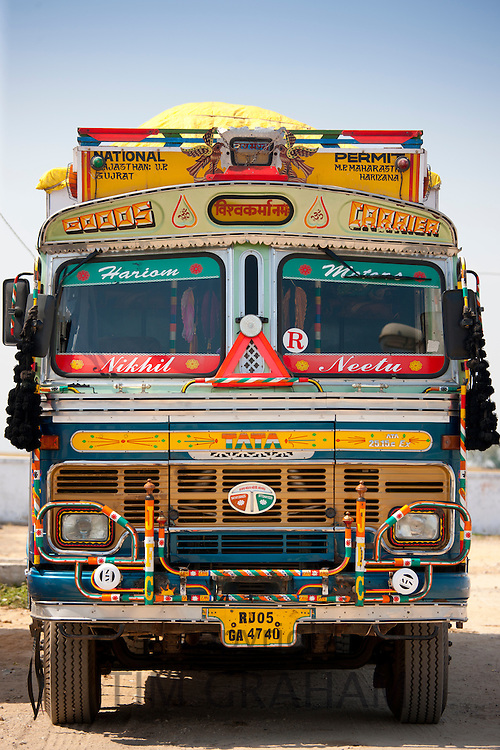 Decorated Tata truck at Rasulpura in Sawai Madhopur, Rajasthan, Northern India