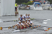 Henley, GREAT BRITAIN. Junior Women's Quadruple Scull. Canford School, leading, Tideway Scullers' School. in their Friday heat. 2012 Henley Royal Regatta. ..Friday  12:19:03  29/06/2012. [Mandatory Credit, Peter Spurrier/Intersport-images]...Rowing Courses, Henley Reach, Henley, ENGLAND . HRR.