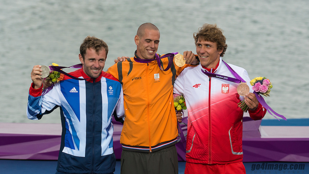 2012 Olympic Games London / Weymouth<br /> RSX Medal Ceremonies<br /> Dempsey Nick, (GBR, RS:X Men)<br /> Van Rijsselberge Dorian, (NED, RS:X Men)<br /> Miarczynski Przemyslaw, (POL, RS:X Men)