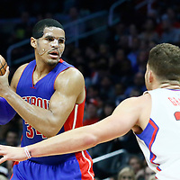 07 November 2016: Detroit Pistons forward Tobias Harris (34) looks to pass the ball over Los Angeles Clippers forward Blake Griffin (32) during the LA Clippers 114-82 victory over the Detroit Pistons, at the Staples Center, Los Angeles, California, USA.