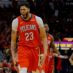 Apr 19, 2018; New Orleans, LA, USA; New Orleans Pelicans forward Anthony Davis (23) celebrates during the second half in game three of the first round of the 2018 NBA Playoffs against the Portland Trail Blazers at the Smoothie King Center. The Pelicans defeated the Trail Blazers 119-102.  Mandatory Credit: Derick E. Hingle-USA TODAY Sports