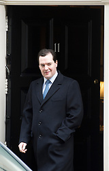 © London News Pictures. 18/03/2013 . London, UK.  British Chancellor of the Exchequer George Osbourne leaving 11 Downing Street. The Chancellor is due to announce the new budget on Wednesday. Photo credit : Ben Cawthra/LNP