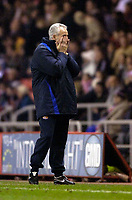 Photo: Jed Wee.<br /> Sunderland v Middlesbrough. Barclays Premiership. 31/01/2006.<br /> <br /> Sunderland manager Mick McCarthy turns away with his head in his hands as he cannot to bear to watch his team on the pitch.