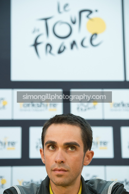 04.07.2014 Leeds, England. Alberto Contador Press Conferences ahead of the 2014 Tour De France Grand Depart.