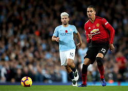 """Manchester United's Chris Smalling during the Premier League match at the Etihad Stadium, Manchester. PRESS ASSOCIATION Photo. Picture date: Sunday November 11, 2018. See PA story SOCCER Man City. Photo credit should read: Nick Potts/PA Wire. RESTRICTIONS: EDITORIAL USE ONLY No use with unauthorised audio, video, data, fixture lists, club/league logos or """"live"""" services. Online in-match use limited to 120 images, no video emulation. No use in betting, games or single club/league/player publications."""