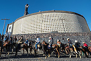 Mexican cowboys arrive to the Cristo Rey shrine on top Cubilete Mountain at the end of the annual Cabalgata de Cristo Rey pilgrimage January 6, 2017 in Guanajuato, Mexico. Thousands of Mexican cowboys take part in the three-day ride to the mountaintop shrine of Cristo Rey.