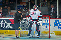 REGINA, SK - MAY 23: Max Paddock #33 of the Regina Pats stands in net during the opening game broadcast against the Swift Current Broncos at the Brandt Centre on May 23, 2018 in Regina, Canada. (Photo by Marissa Baecker/CHL Images)