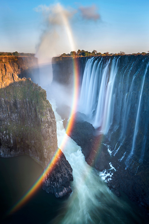 Victoria Falls at sunset, Mosi-oa-Tunya National Park, Zambia.