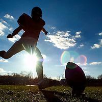 (SPORTS) Keyport 11/20/2003  Keyport high school football kicker Pete Czech during practice.  Michael J. Treola Staff Photographer