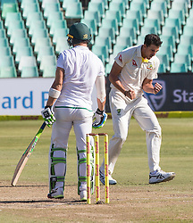 Durban. 020318. Mitchell Starc of Australia celebrates the wicket of Faf du Plessis of the Proteas with his team mates during day 2 of the 1st Sunfoil Test match between South Africa and Australia at Sahara Stadium Kingsmead on March 02, 2018 in Durban, South Africa. Picture Leon Lestrade/African News Agency/ANA