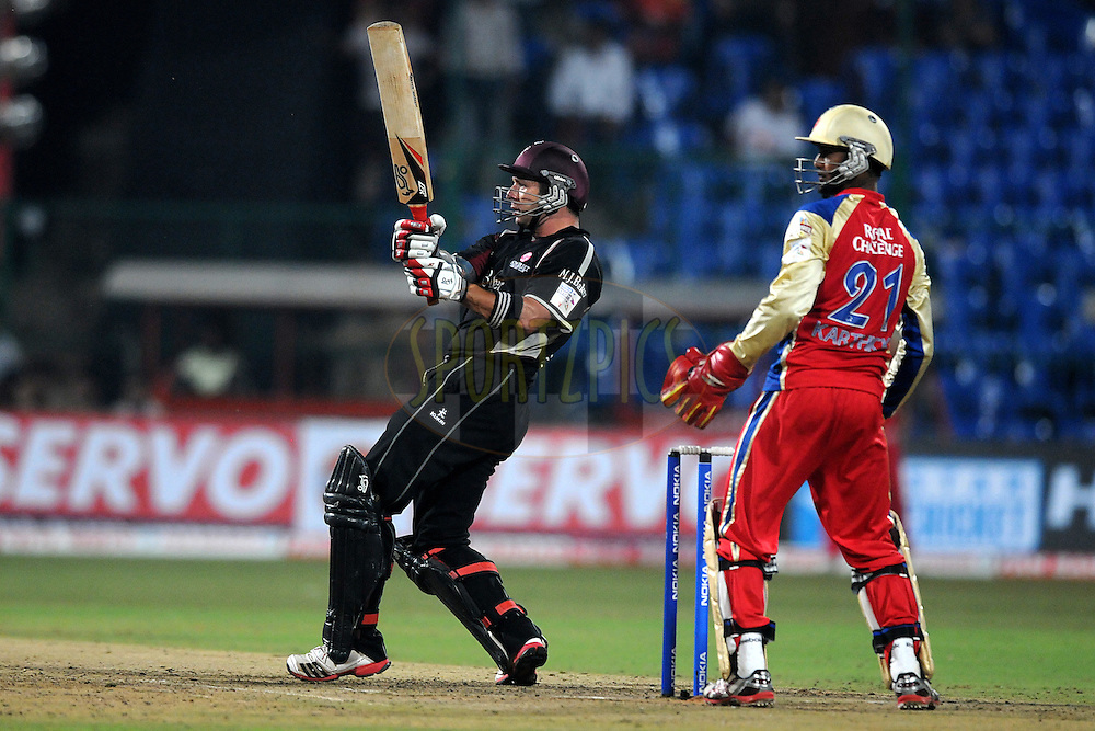 Peter Trego of Somerset bats during match 16 of the NOKIA Champions League T20 ( CLT20 ) between the Royal Challengers Bangalore and Somerset held at the  M.Chinnaswamy Stadium in Bangalore , Karnataka, India on the 3rd October 2011..Photo by Pal Pillai/BCCI/SPORTZPICS