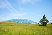 Dome shaped glass roof of The Great Glasshouse of the National Botanic Garden of Wales, in Carmarthenshire, UK