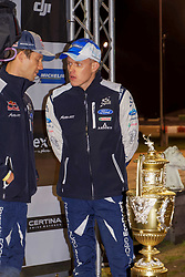 October 26, 2017 - Deeside, Wales, United Kingdom - 1 Sébastien Ogier (FRA) and #2 Ott Tanak (EST) pictured with the Rally GB trophy on display prior to the Rally GB round of the 2017 FIA World Rally Championship. (Credit Image: © Hugh Peterswald/Pacific Press via ZUMA Wire)