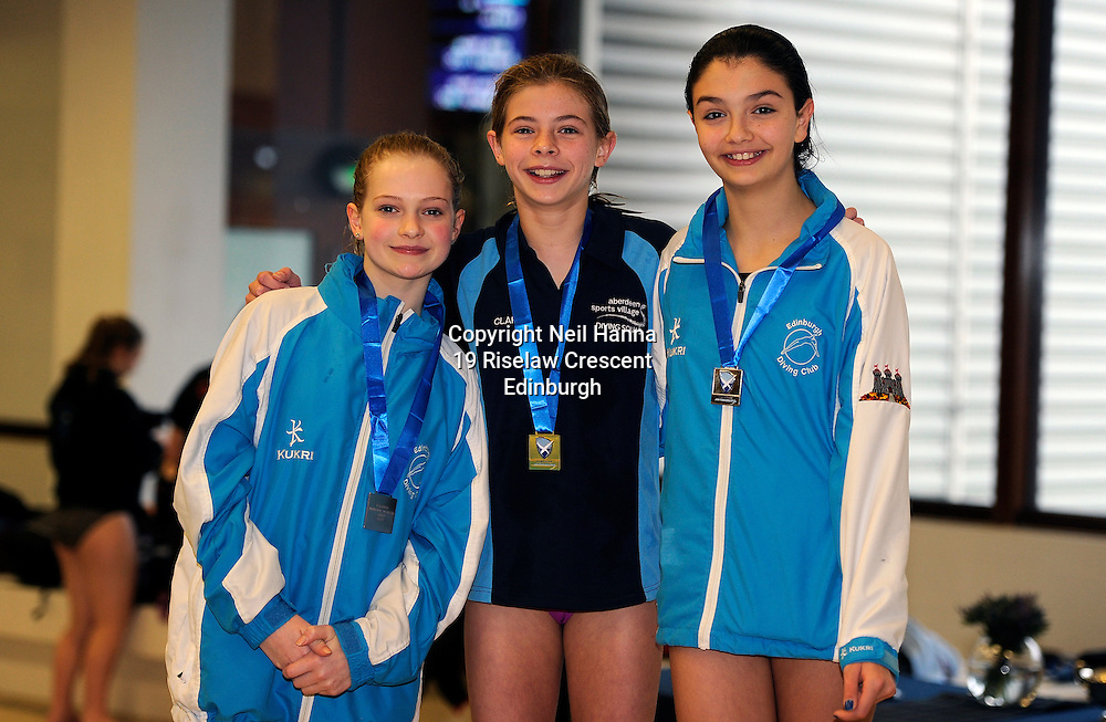 Scottish National Diving Championships &amp; Thistle Trophy 2015<br /> Royal Commonwealth Pool, Edinburgh<br /> <br /> Girls 12-13 Years<br /> <br /> Rose Daly and Ellen Beattie of Edinburgh Diving Club  flank winner Clara Kerr of ASV Aquatics Club<br /> <br />  Neil Hanna Photography<br /> www.neilhannaphotography.co.uk<br /> 07702 246823