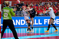 08-12-2019 JAP: Netherlands - Germany, Kumamoto<br /> First match Main Round Group1 at 24th IHF Women's Handball World Championship, Netherlands lost the first match against Germany with 23-25. / Dione Housheer #27 of Netherlands, Dinah Eckerle #12 of Germany