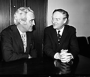 Liam Cosgrave Meets Brendan Corish..1973..05.03.1973..03.05.1973..5th March 1973..With a view to forming a Coalition Government the leaders of the Fine Gael, Mr Liam Cosgrave, and Labour, Mr Brendan Corish are pictured at Leinster House, where they met today. They hoped to formulate a plan to form a coalition to oust the sitting Fianna Fail Government which has held power for sixteen consecutive years. DFA,