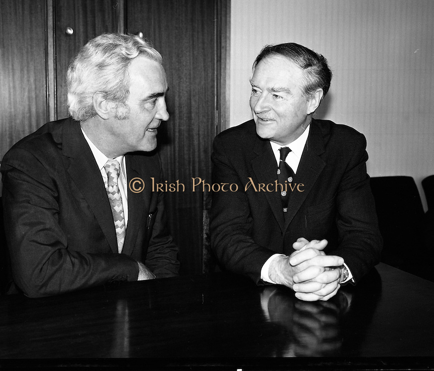 Liam Cosgrave Meets Brendan Corish..1973..05.03.1973..03.05.1973..5th March 1973..With a view to forming a Coalition Government the leaders of the Fine Gael, Mr Liam Cosgrave, and Labour, Mr Brendan Corish are pictured at Leinster House, where they met today. They hoped to formulate a plan to form a coalition to oust the sitting Fianna Fail Government which has held power for sixteen consecutive years.