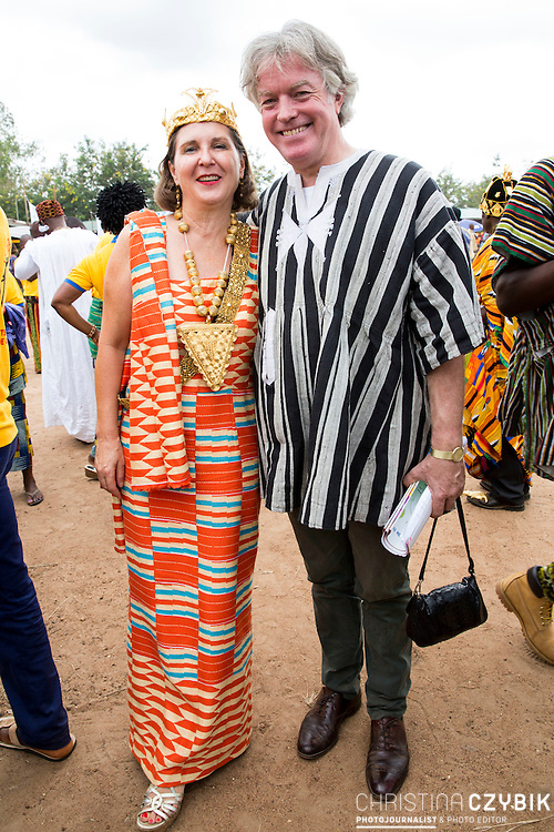 Dr. Susi Dattenberg-Doyle (Queen Mother of Gbi Kpoeta Ghana) and husband Tom Doyle attend  the big closing ceremony on the last day of the festival in Notse<br /> <br /> Day 3 of the Agbogboza Festival in Notse, Togo on September 3rd, 2016<br /> <br /> ***Togbe Ngoryifia Cephas Kosi Bansah of Gbi Traditional Area Hohoe Ghana and Traditional, Spiritual and Honorable King of the Ewes and his wife, Queen Mother Gabriele Akosua Bansah Ahado Hohoe Ghana***