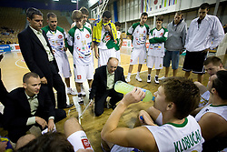 Coach Jure Zdovc and team of Olimpija at Superpokal basketball match between KK Union Olimpija and Elektra Esotech, on September 27, 2009, in Arena Tivoli, Ljubljana, Slovenia.  (Photo by Vid Ponikvar / Sportida)