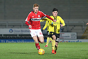 Connor Malley of Middlesbrough (43) takes on Elliot Hodge of Burton Albion (21) during the EFL Trophy group stage match between Burton Albion and U21 Middlesbrough at the Pirelli Stadium, Burton upon Trent, England on 7 November 2018.