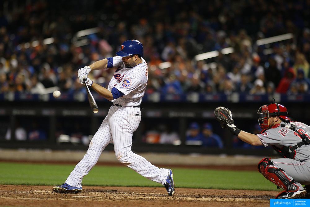 NEW YORK, NEW YORK - APRIL 26:  Neil Walker #20 of the New York Mets batting during the New York Mets Vs Cincinnati Reds MLB regular season game at Citi Field on April 26, 2016 in New York City. (Photo by Tim Clayton/Corbis via Getty Images)