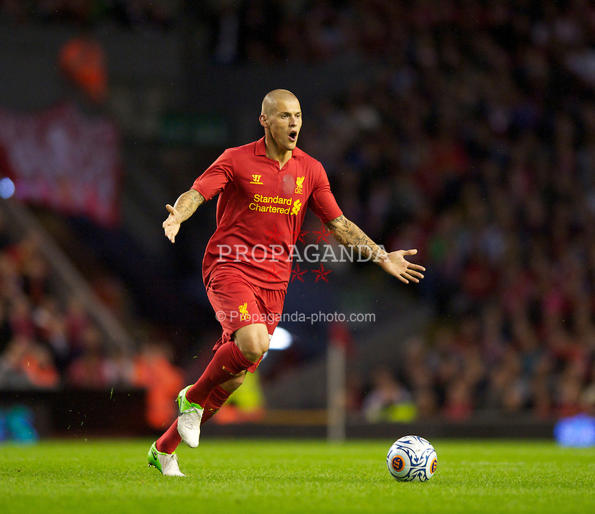 LIVERPOOL, ENGLAND - Thursday, August 30, 2012: Liverpool's Martin Skrtel in action against Heart of Midlothian during the UEFA Europa League Play-Off Round 2nd Leg match at Anfield. (Pic by Jed Wee/Propaganda)