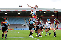 Forwards compete at a lineout - Mandatory byline: Patrick Khachfe/JMP - 07966 386802 - 15/09/2018 - RUGBY UNION - The Twickenham Stoop - London, England - Harlequins Ladies v Bristol Bears Women - Tyrrell's Premier 15s