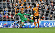 Darren Bent scores during the Sky Bet Championship match between Wolverhampton Wanderers and Brighton and Hove Albion at Molineux, Wolverhampton, England on 20 December 2014.