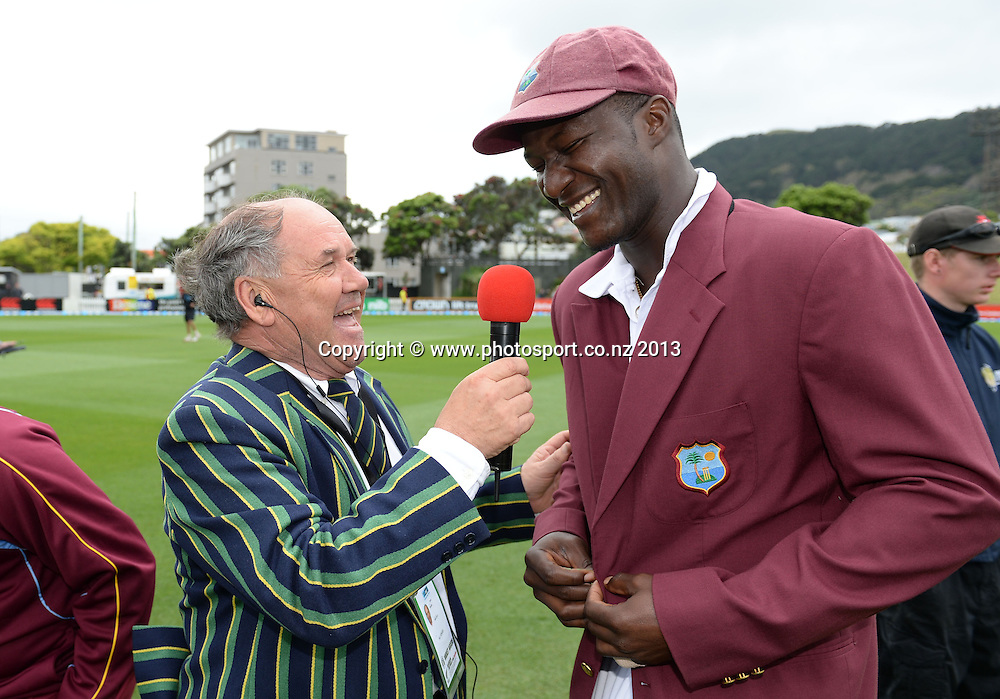 Radio Sport's Bryan Waddle with West Indies Captain Darren Sammy on Day 1 of the 2nd cricket test match of the ANZ Test Series. New Zealand Black Caps v West Indies at The Basin Reserve in Wellington. Wednesday 11 December 2013. Mandatory Photo Credit: Andrew Cornaga www.Photosport.co.nz