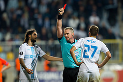 Jakob Kehlet shows red card to Josip Misic of HNK Rijeka during UEFA Europa League 2017/18 group D match between HNK Rijeka and FK Austria Wien, on November 2, 2017 in Rijeka, Croatia. Photo by Ziga Zupan / Sportida