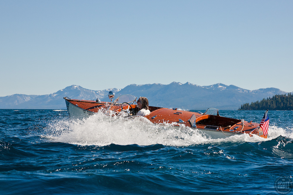 """Miss De Meanor on Lake Tahoe"" - Photograph of the Miss De Meanor classic wooden boat from the 2011 Tahoe Concours d'Elegance."