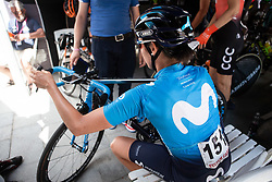 Aude Biannic (FRA) of Movistar Women's Team prepares for Stage 6 of Giro Rosa Iccrea, a 12.1 km time trial from Chiuro to Teglio, Italy on July 10, 2019. Photo by Balint Hamvas/velofocus.com